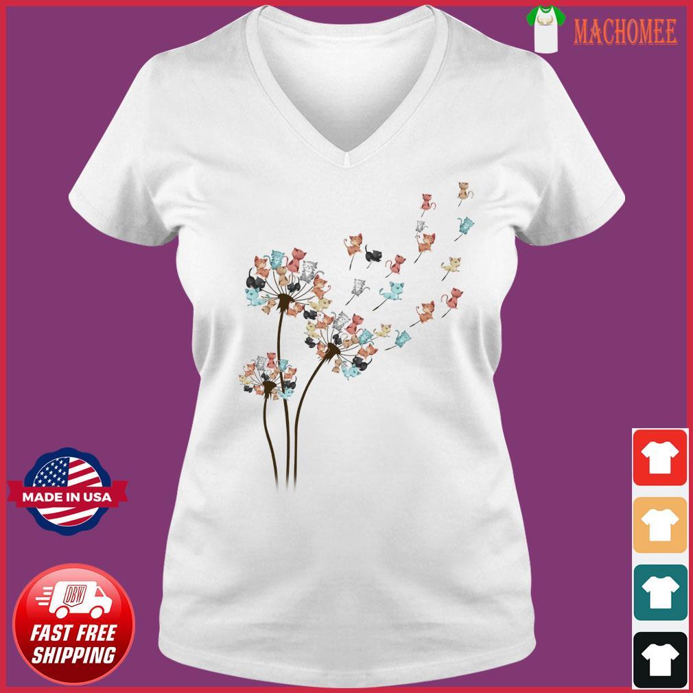 Dandelion Cats Flower Shirt Ladies V-neck Tee