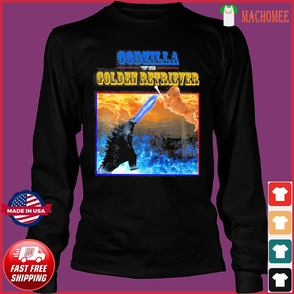 Godzilla Vs Golden Retriever With Godzilla Vs Kong Movie 2021 Shirt Long Sleeve
