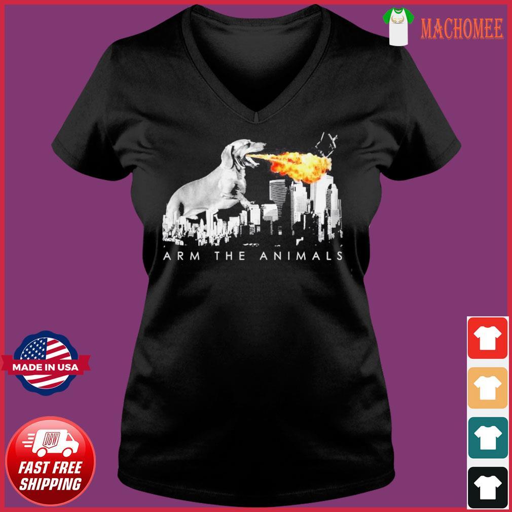 Official Dachshund Arm The Animals Godzilla Shirt Ladies V-neck Tee