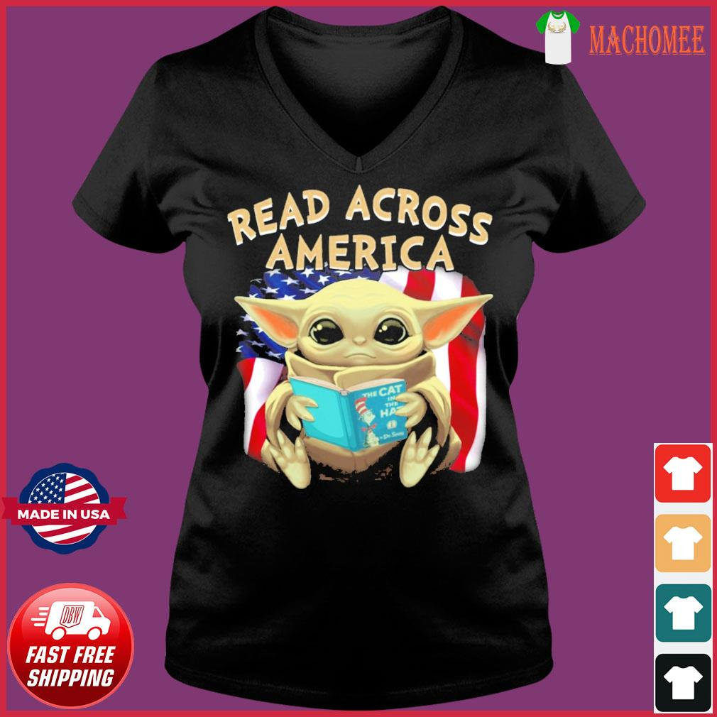 Official Star Wars Baby Yoda Read Across America Flag Shirt Ladies V-neck Tee