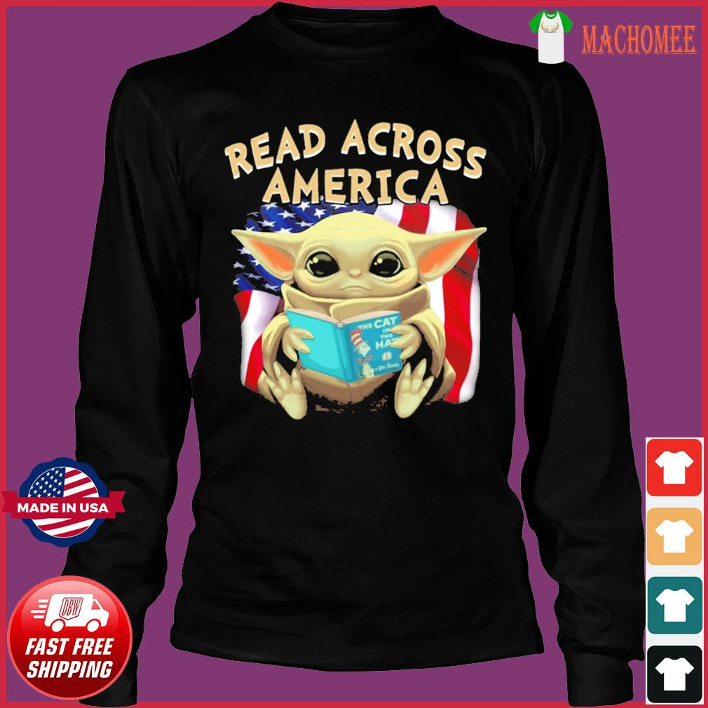 Official Star Wars Baby Yoda Read Across America Flag Shirt Long Sleeve