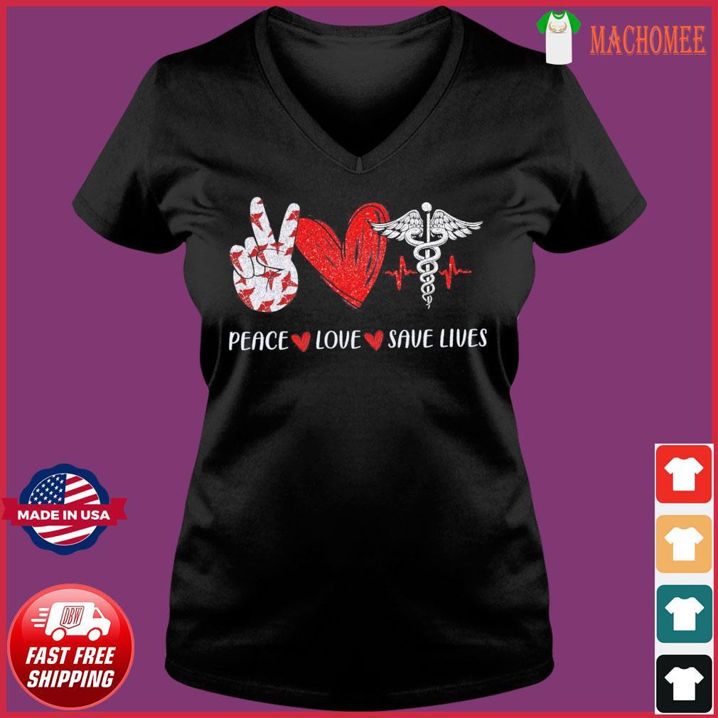 Peace Love Save Lives Heartbeat Shirt Ladies V-neck Tee