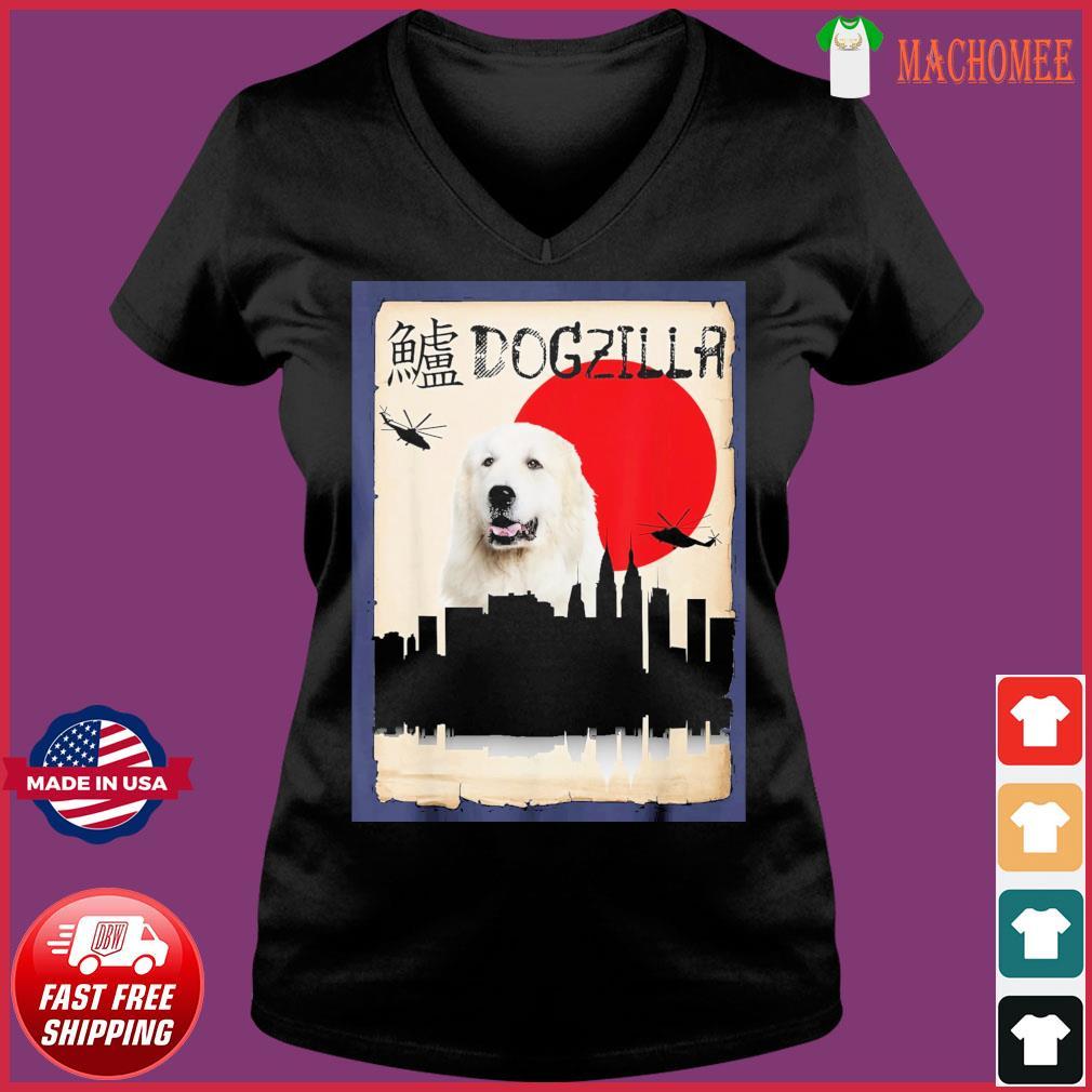 Pyrenees Dog Dogzilla Shirt Ladies V-neck Tee