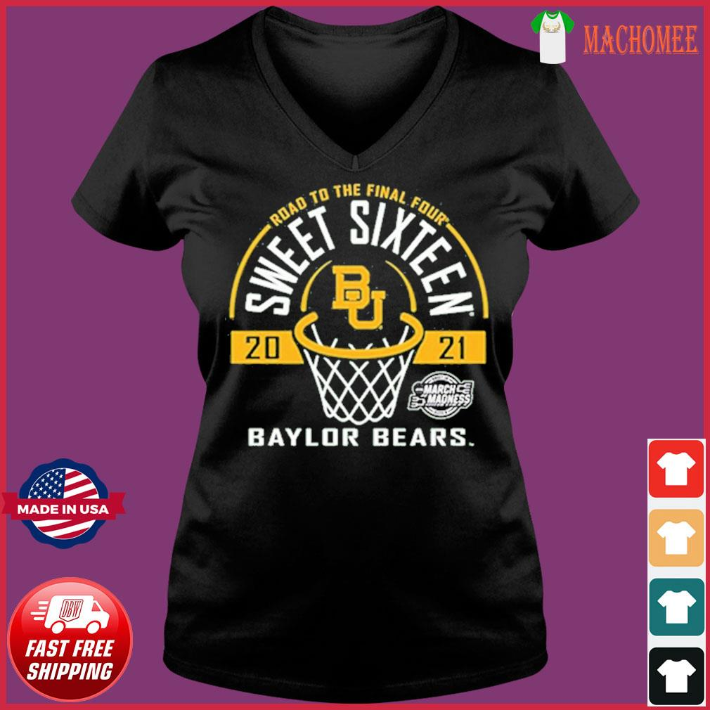 Baylor Bears Green Road To The Final Four 2021 Sweet Sixteen Shirt Ladies V-neck Tee
