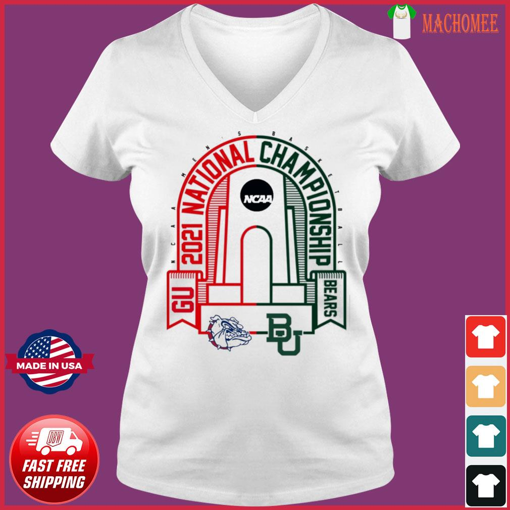 BU Baylor Bears vs GU Gonzaga Bulldogs 2021 NCAA Men's Basketball National T-Shirt Ladies V-neck Tee