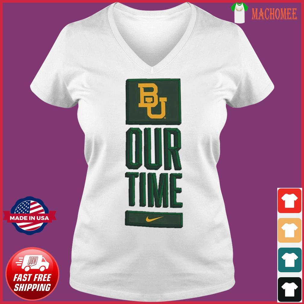 Nike BU Baylor Bears Basketball Our Time Bench Legend Performance Shirt Ladies V-neck Tee