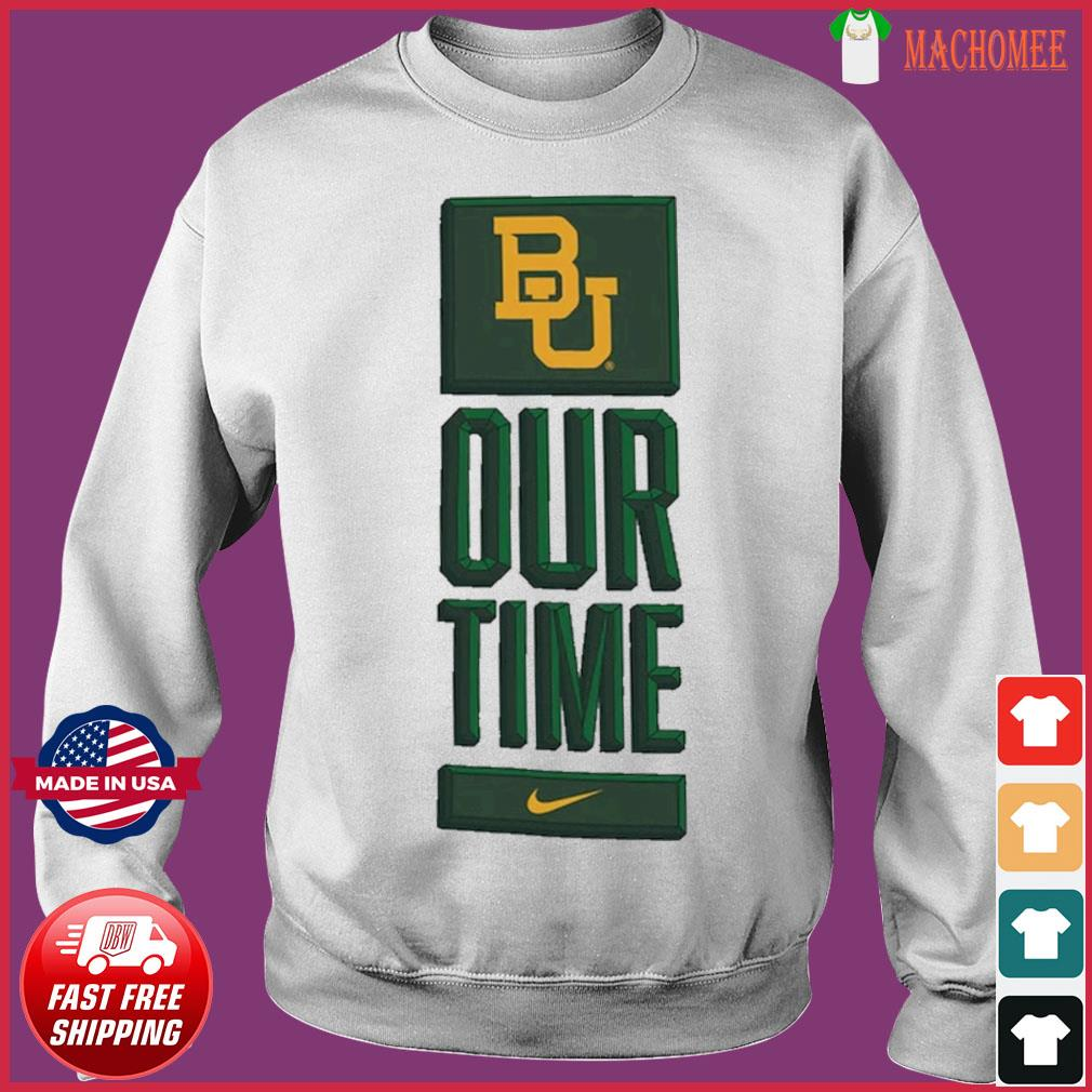 Nike BU Baylor Bears Basketball Our Time Bench Legend Performance Shirt Sweater