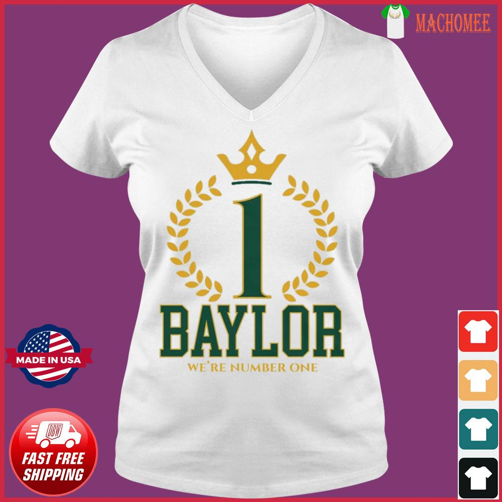 Official Baylor Bears We're Number One Shirt Ladies V-neck Tee