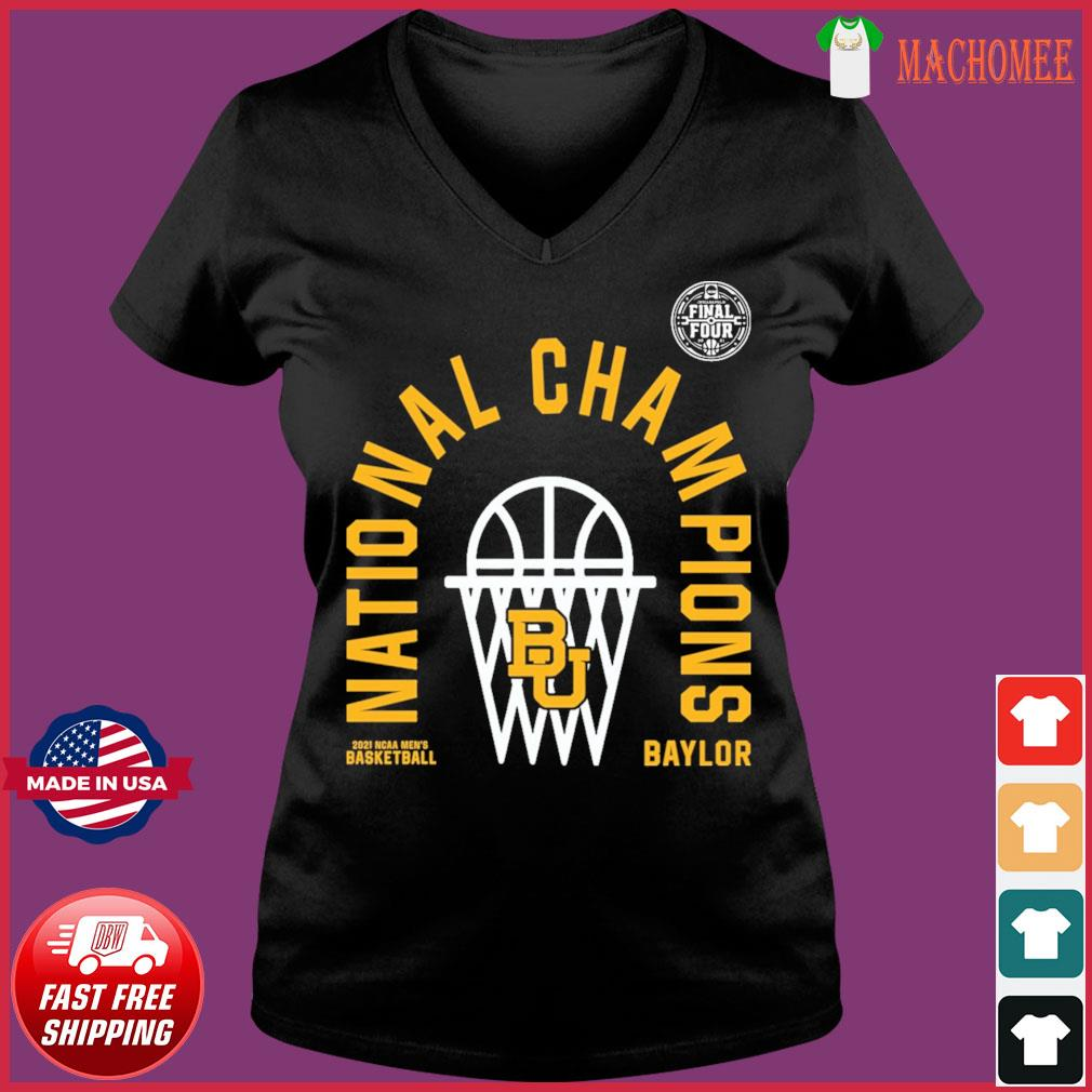 Official BU Baylor Bears 2021 NCAA Men's Basketball National Champions Arc Velocity Shirt Ladies V-neck Tee