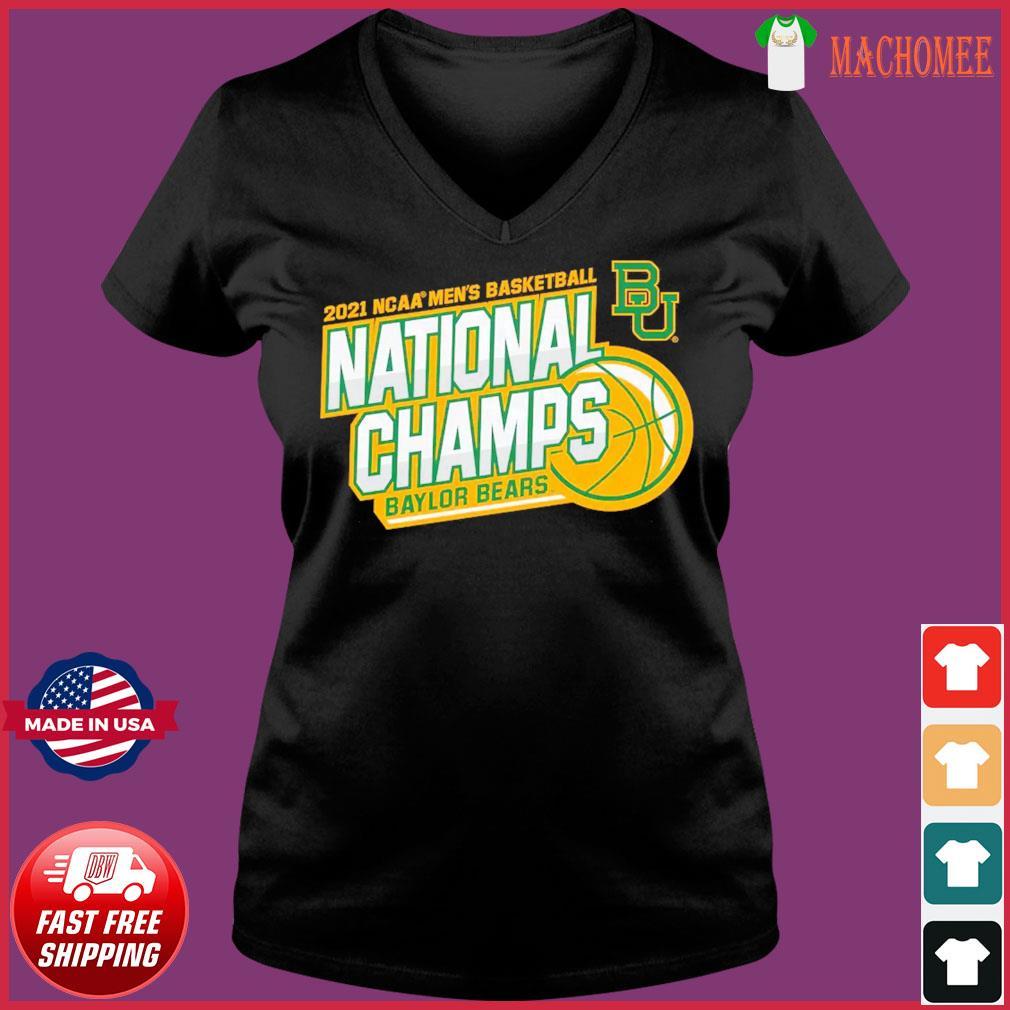Official BU Baylor Bears 2021 NCAA Men's Basketball National Champions Shirt Ladies V-neck Tee
