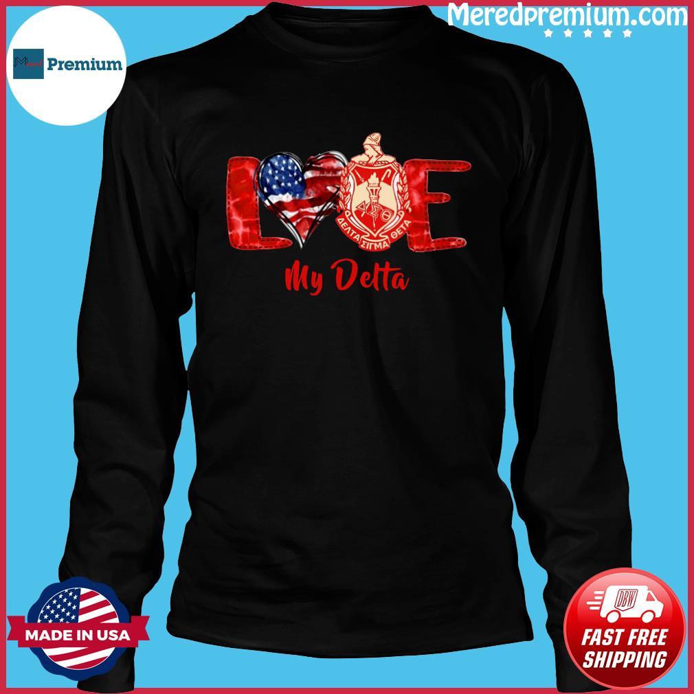 Love Heart American Flag Delta Sigma Theta Shirt Long Sleeve