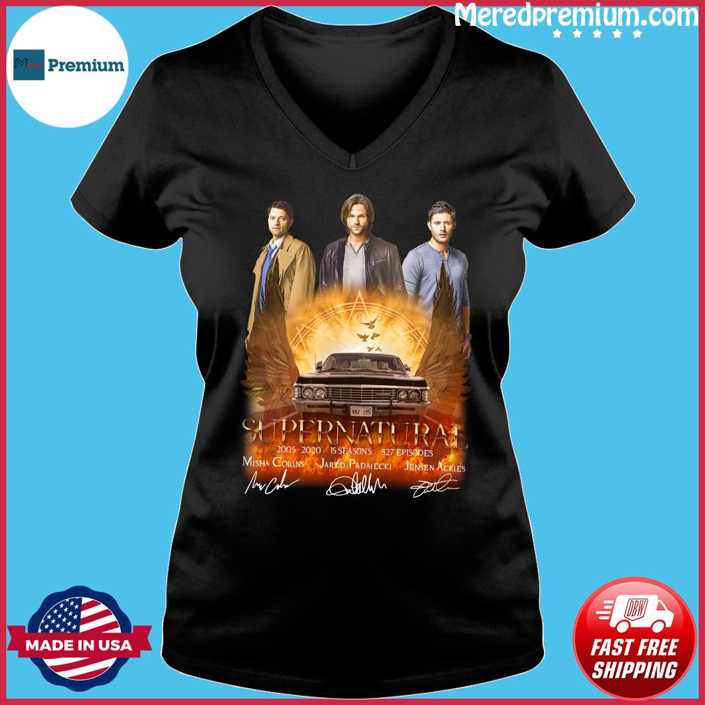 Supernatural 2005 2020 15 Seasons 327 Episodes Signatures Shirt Ladies V-neck