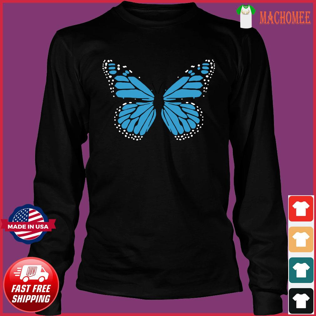 Blue Butterfly Fashion Emoji Icon Style Shirt Long Sleeve