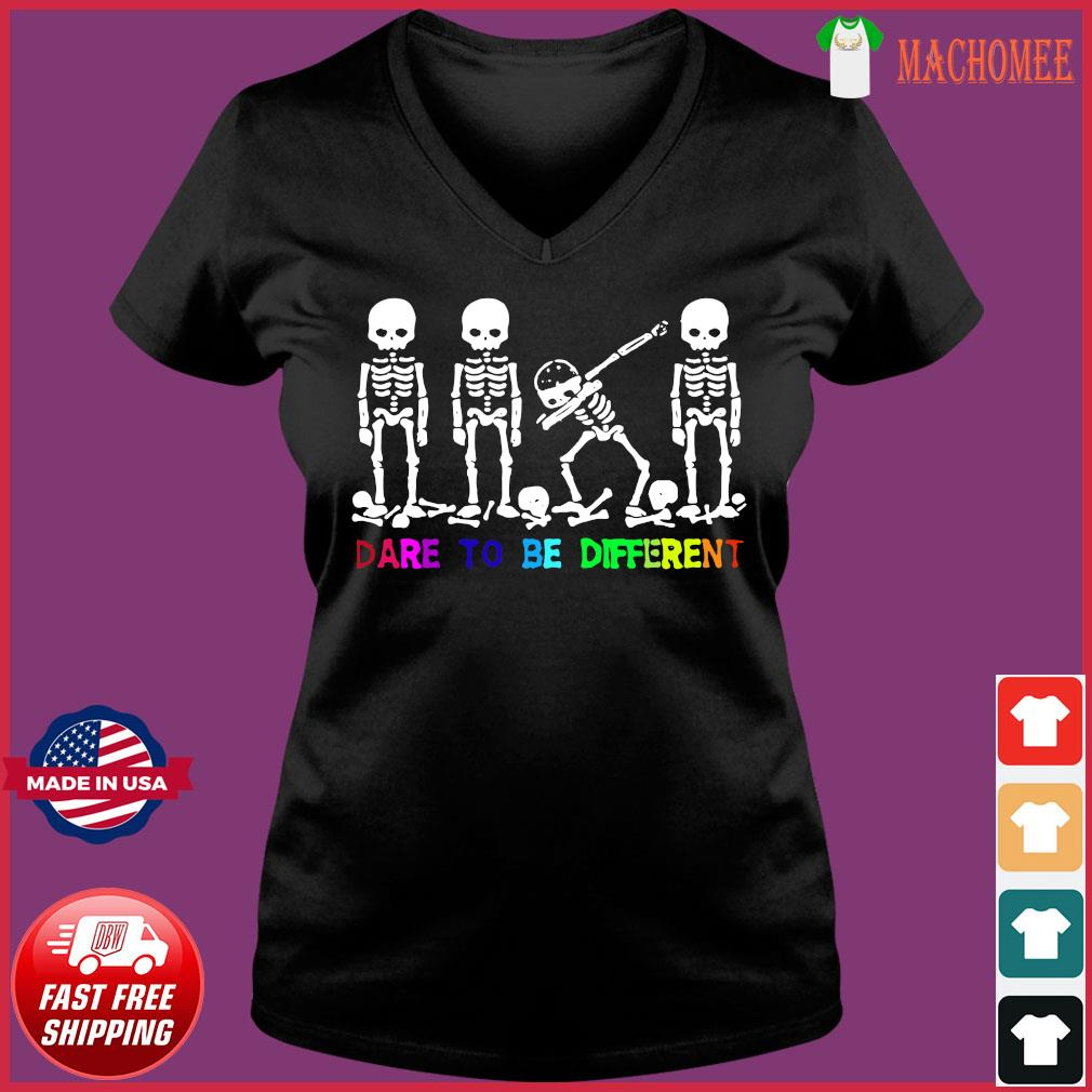 Lgbt Skull Dabbing Dare To Be Different Shirt Ladies V-neck Tee