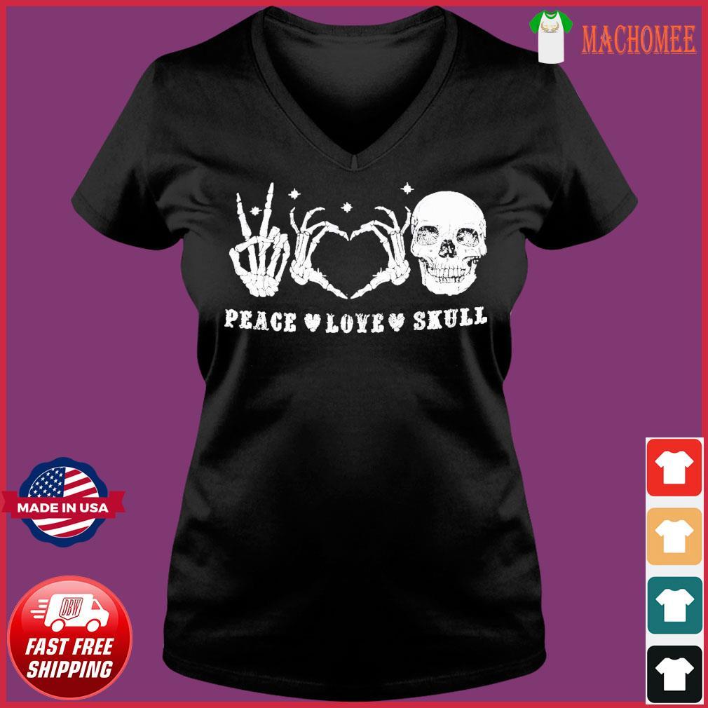 Offcial Peace Love Skull Diamond s Ladies V-neck Tee
