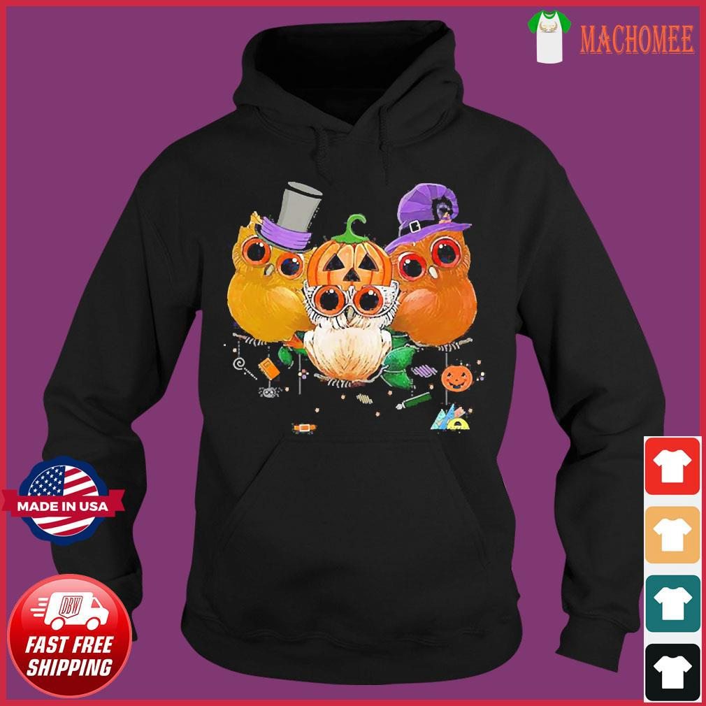 Three Owls Witch Hat Mummy Devil Cute Halloween s Hoodie