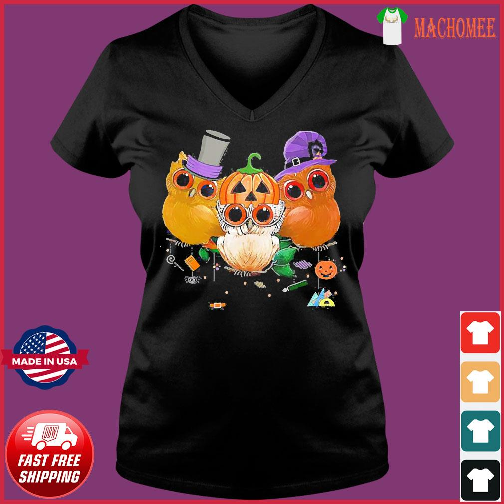 Three Owls Witch Hat Mummy Devil Cute Halloween s Ladies V-neck Tee