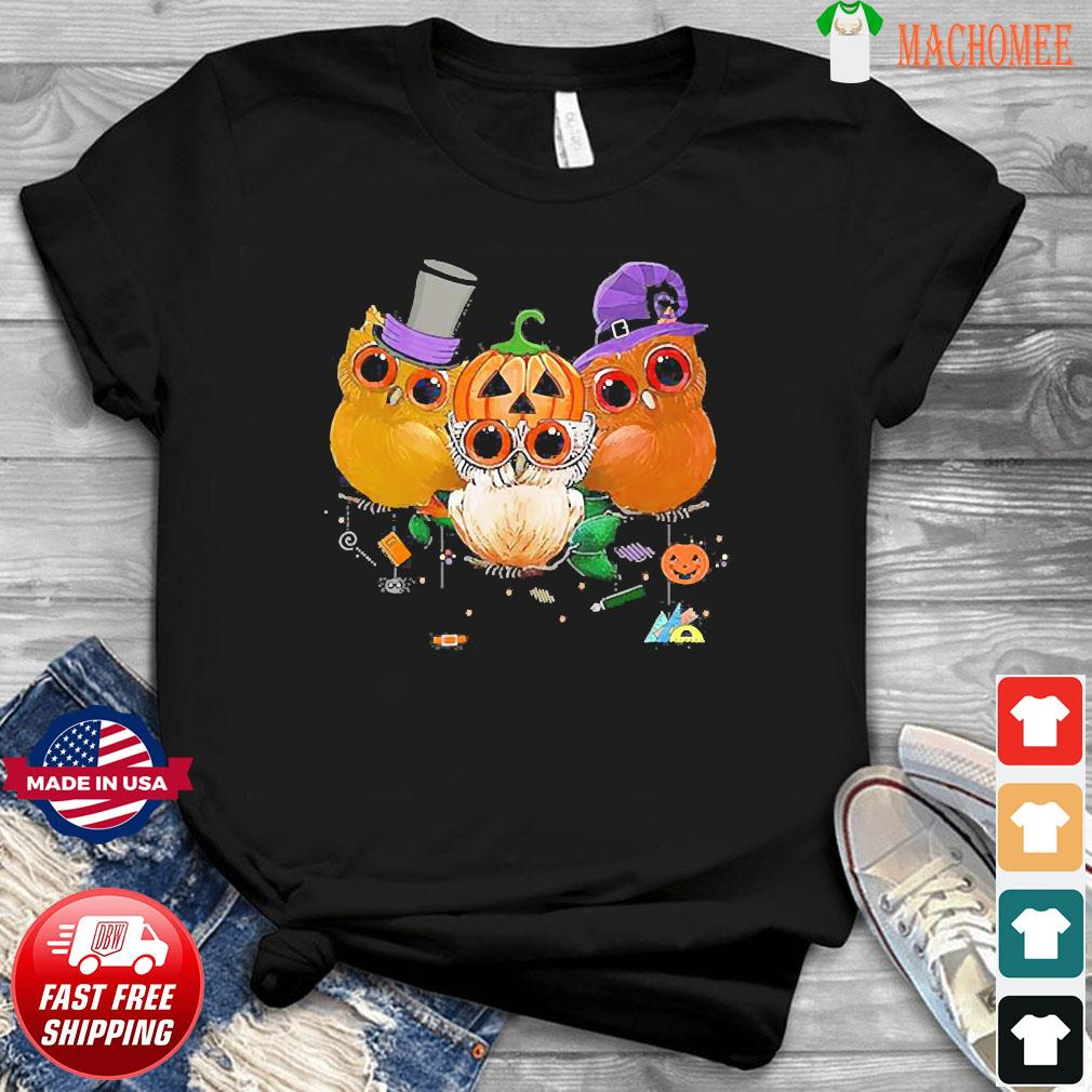 Three Owls Witch Hat Mummy Devil Cute Halloween shirt