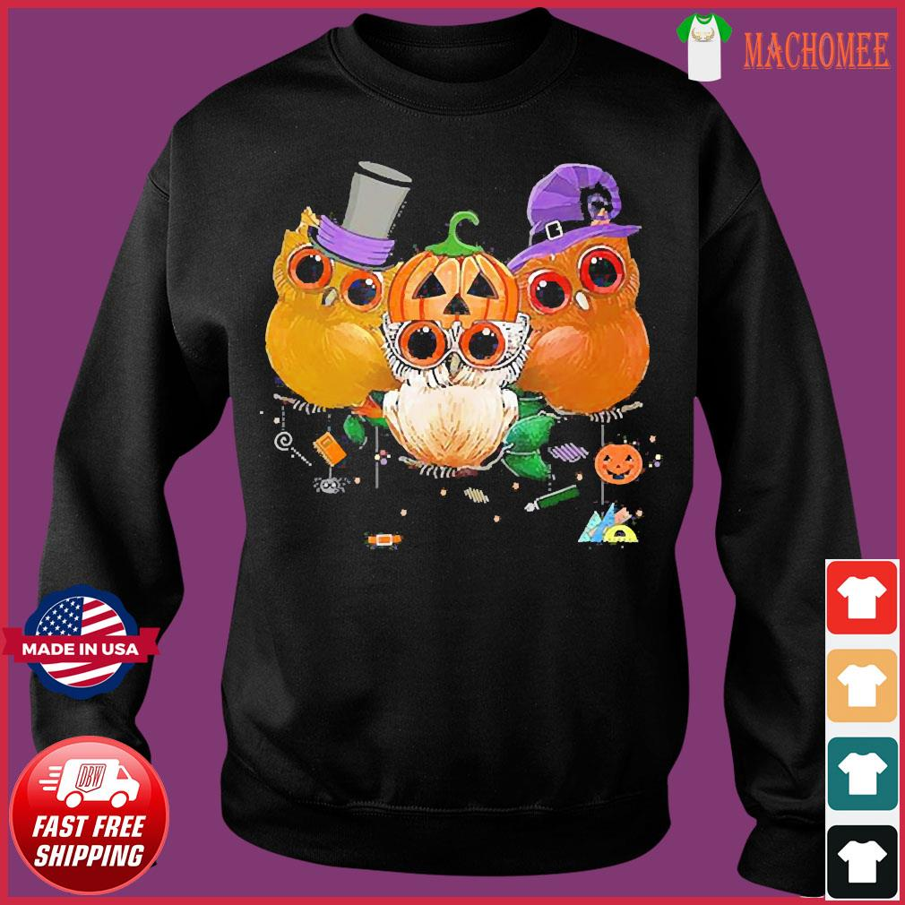Three Owls Witch Hat Mummy Devil Cute Halloween s Sweater