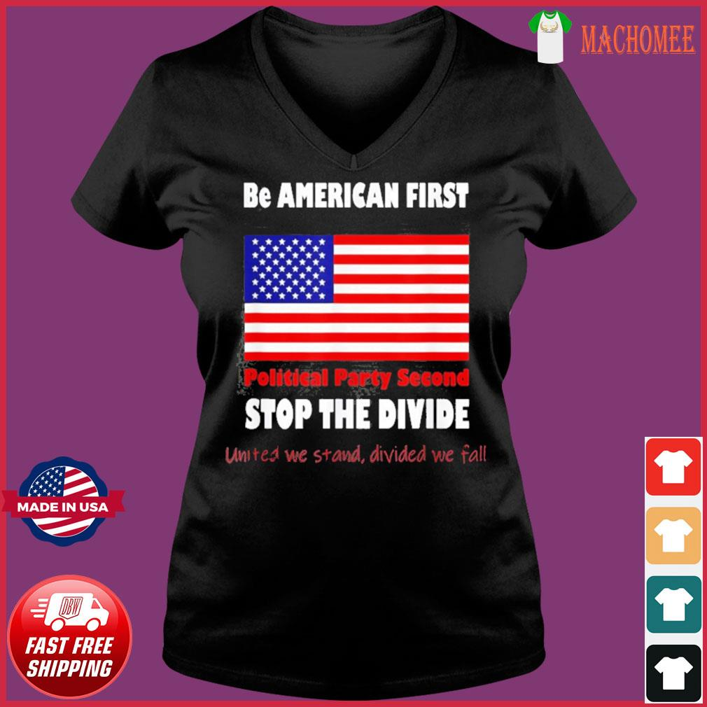 United We Stand Biden Trump we are all American Patriots Shirt Ladies V-neck Tee