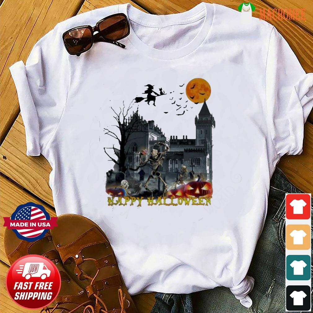 Witch and skeleton Happy Halloween shirt