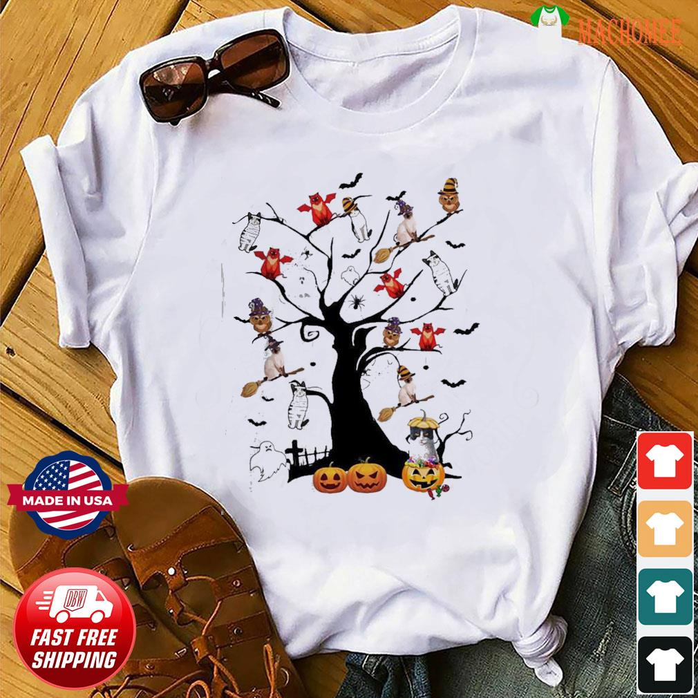 Witch Cat Dog and Owl in the Halloween tree shirt