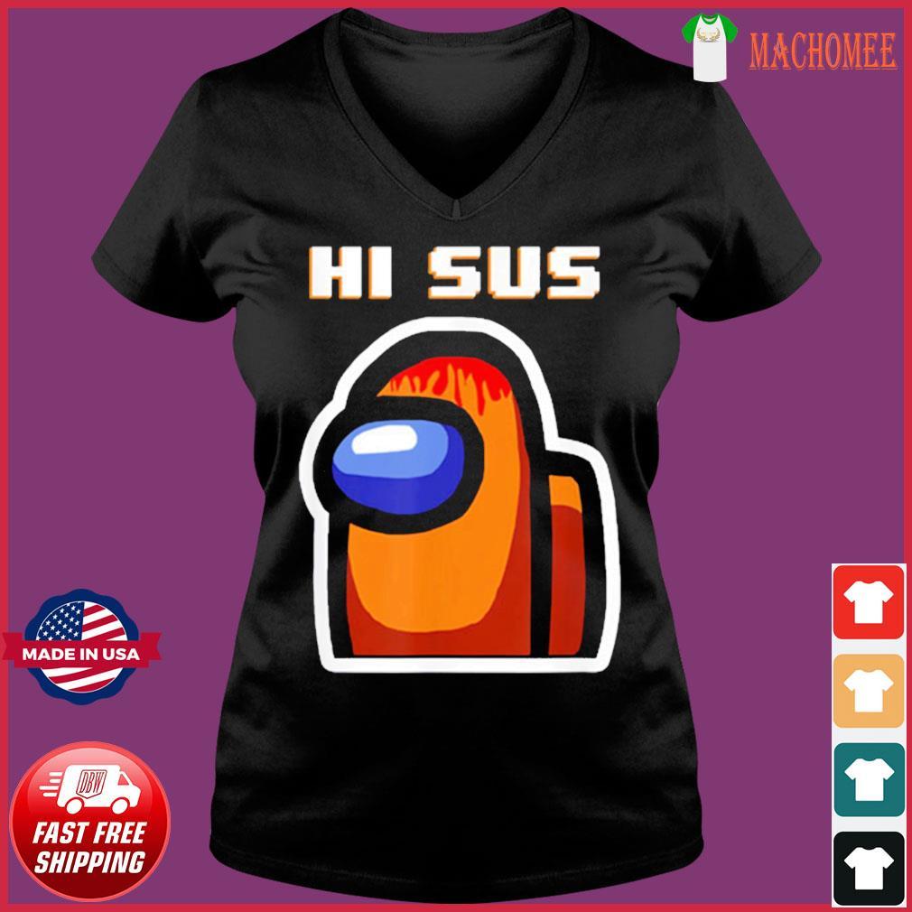 Impostor Among Us Funny Vintage Game Sus T-Shirt Ladies V-neck Tee
