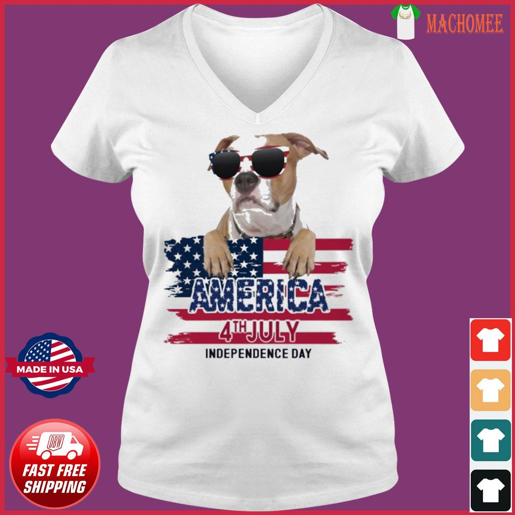 Staffordshire America 4th July Independence Day Flag Shirt Ladies V-neck Tee